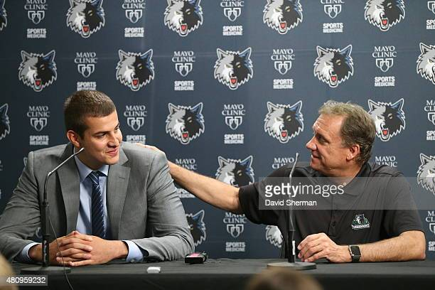 Euroleague Most Valuable Player Nemanja Bjelica of the Minnesota Timberwolves is introduced to the media by President of Basketball Operations and...