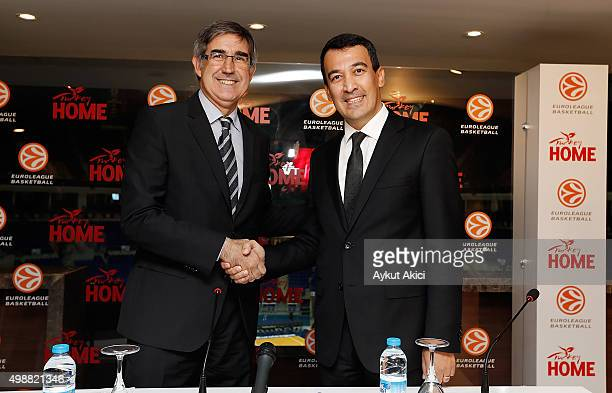 Euroleague president Jordi Bertomeu and Irfan Onal answer questions from the media at press conference prior to the Turkish Airlines Euroleague...
