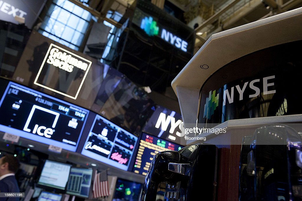 Euronext signage is displayed on the floor of the New York Stock Exchange (NYSE) in New York, U.S., on Thursday, Dec. 20, 2012. InterContinentalExchange Inc. (ICE), the 12-year-old energy and commodity futures bourse, agreed to acquire NYSE Euronext for cash and stock worth $8.2 billion, moving to take control of the world's biggest equities market. Photographer: Jin Lee/Bloomberg via Getty Images