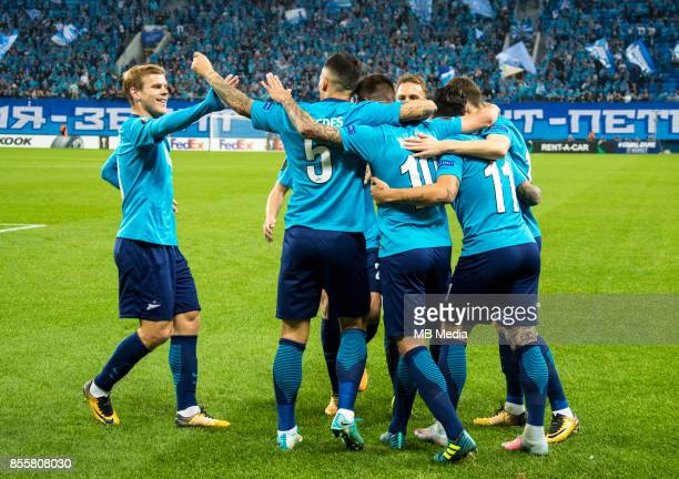 Europa League Group L Round 2 football match at Saint Petersburg Stadium Zenit 3 1 Real Sociedad Zenit St Petersburg's Aleksander Kokorin Leandro...