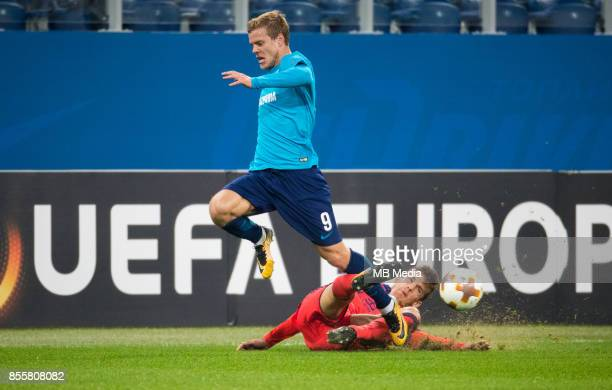 Europa League Group L Round 2 football match at Saint Petersburg Stadium Zenit 3 1 Real Sociedad Zenit St Petersburg's Aleksander Kokorin and FC Real...