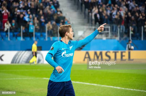 Europa League Group L Round 2 football match at Saint Petersburg Stadium Zenit 3 1 Real Sociedad Zenit St Petersburg's Aleksander Kokorin celebrate...