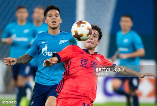 Europa League Group L Round 2 football match at Saint Petersburg Stadium Zenit 3 1 Real Sociedad Zenit St Petersburg's Sebastian Driussi and FC Real...