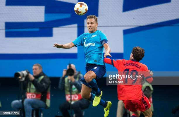 Europa League Group L Round 2 football match at Saint Petersburg Stadium Zenit 3 1 Real Sociedad Zenit St Petersburg's Domenico Criscito and FC Real...