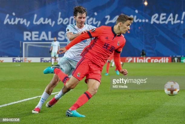 Europa League Group L Round 6 football match Real Sociedad Zenit 1 3 Zenit St Petersburg's Aleksander Erokhin and Real Sociedad's Diego Javier...