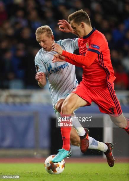 Europa League Group L Round 6 football match Real Sociedad Zenit 1 3 Zenit St Petersburg's Igor Smolnikov and Real Sociedad's Diego Javier Llorente...