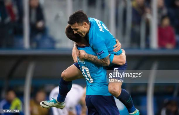 Zenit St Petersburg 3 'u2013 1 Rosenborg BK Zenit St Petersburg's Emiliano Rigoni and Leandro Paredes celebrate scoring