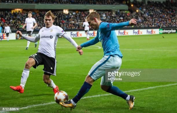 Rosenborg BK 11 Zenit St Petersburg Rosenborg's Morten Konradsen and Zenit St Petersburg's Aleksandr Kokorin