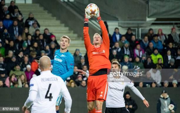 Rosenborg BK 11 Zenit St Petersburg Zenit St Petersburg's Aleksandr Kokorin and Rosenborg goalkeeper Andre Hansen