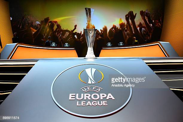 Europa League trophy is seen during the UEFA Champions League Group stage draw ceremony at Grimaldi Forum Monte Carlo in Monaco on August 26 2016