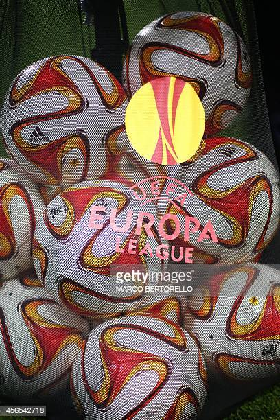 Europa League's official balls are seen in a bag during the Europa League Group B football match Torino vs Kobenhavn at the Olympic Stadium in Turin...