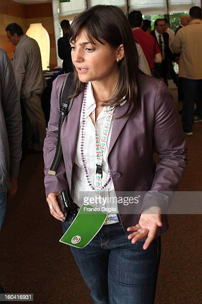 Europarliamentarian of the Democratic Party Debora Serracchiani arrives at the Ergife Hotel for PD party's National Assembly on October 6 2012 in...
