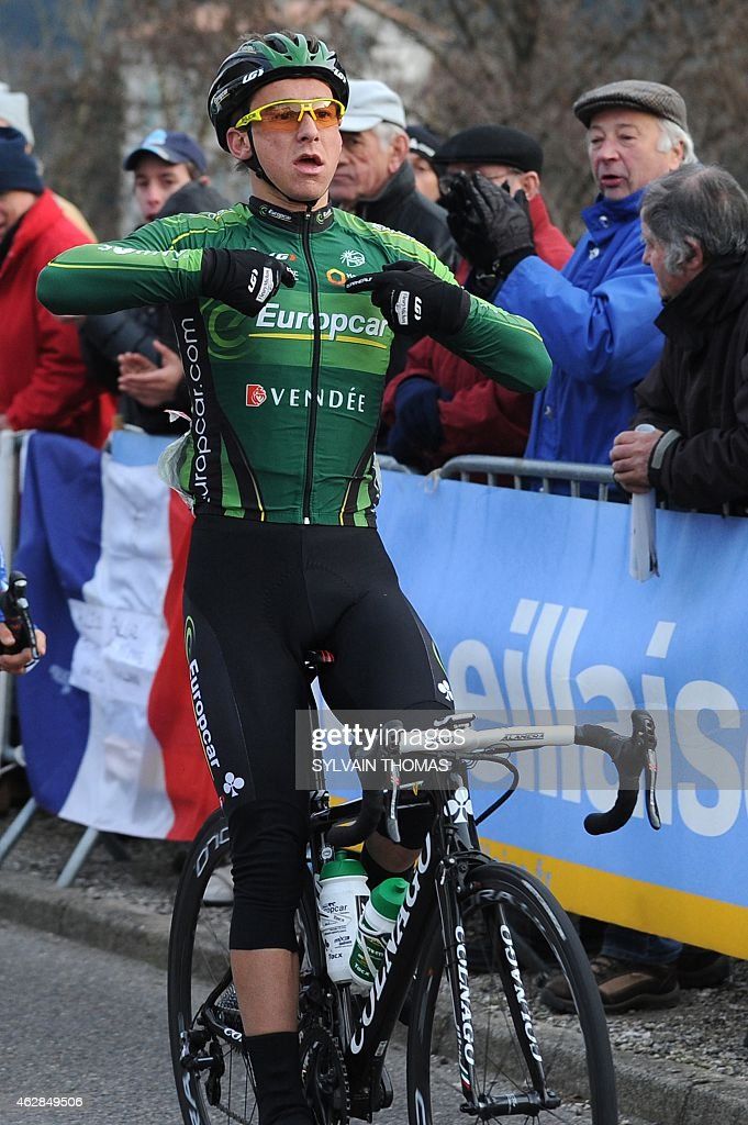 Europcar's team French cyclist <a gi-track='captionPersonalityLinkClicked' href=/galleries/search?phrase=Bryan+Coquard&family=editorial&specificpeople=8795501 ng-click='$event.stopPropagation()'>Bryan Coquard</a> celebrates after winning the third stage of the 45th Etoile de Besseges cycling race on February 6, 2015 in Besseges, southern France.
