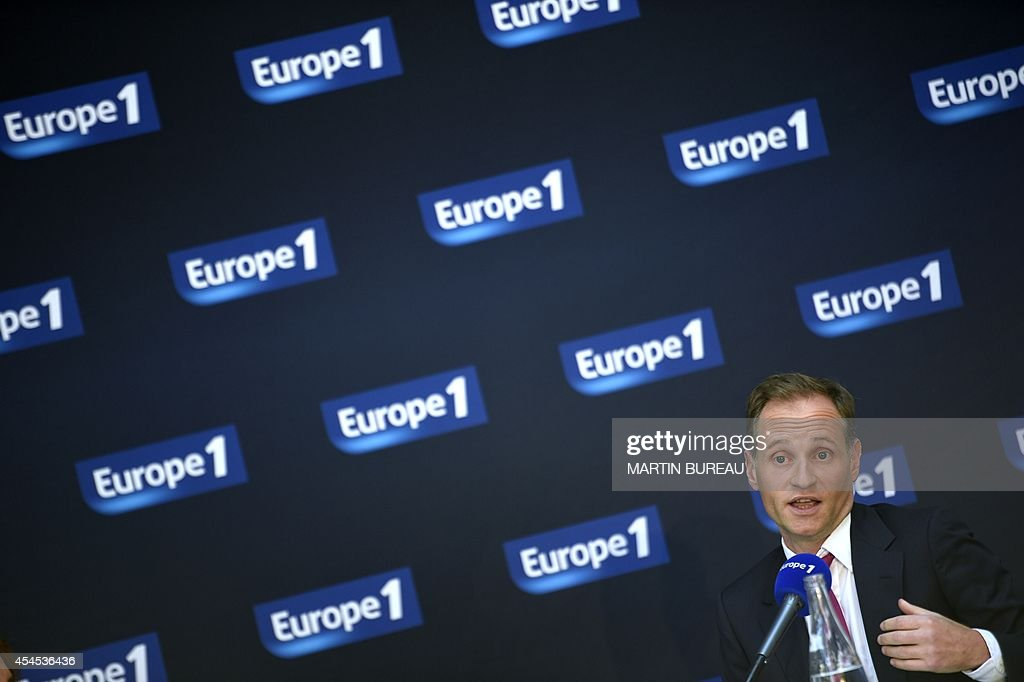 Europe 1 radio station director Fabien Namias gives a press conference, on September 3, 2014 in Paris.