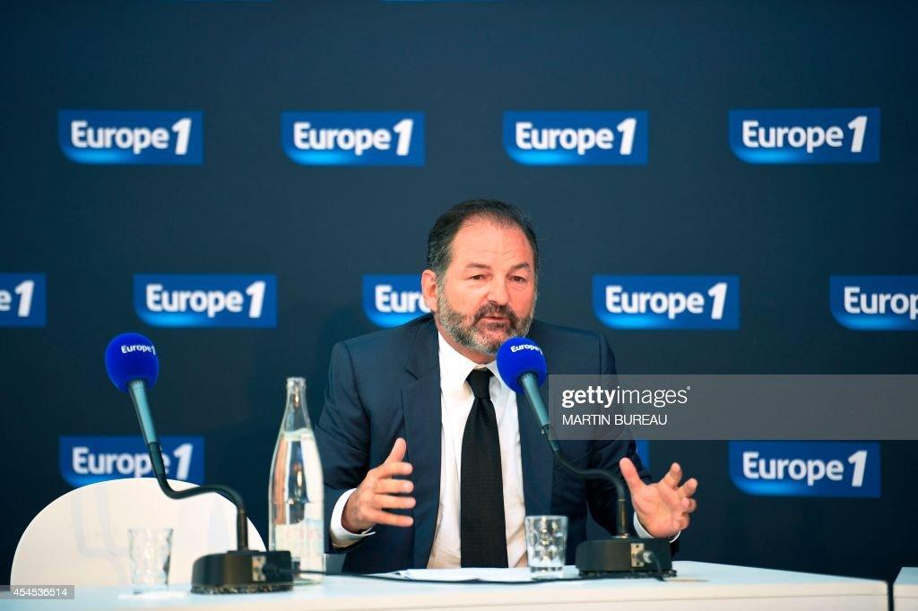 Europe 1 radio station president Denis Olivennes gives a press conference, on September 3, 2014 in Paris.
