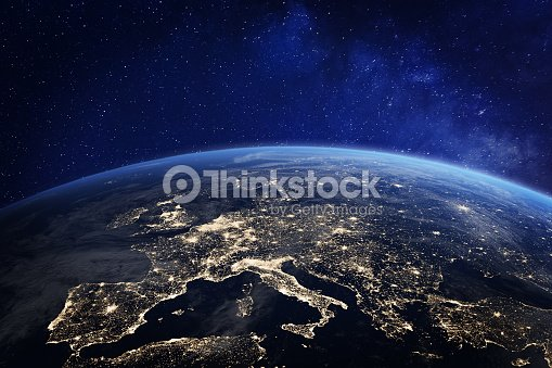Europe at night from space, city lights, elements from NASA : Stock Photo