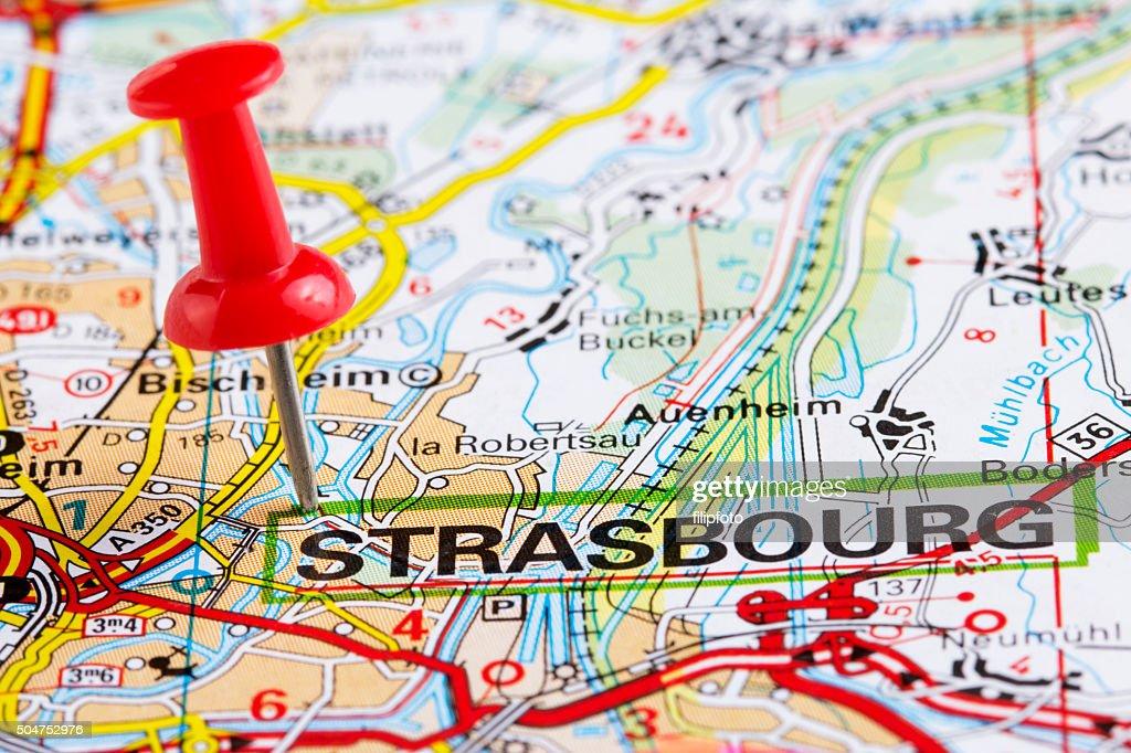 Europe Cities On Map Series Strasbourg Stock Photo Thinkstock