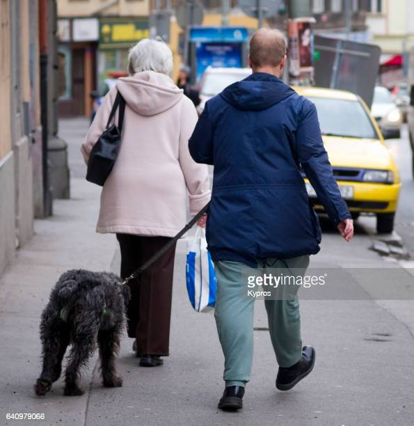 Europe, Czech Republic, Prague, View Of Man Walking Dog In Street