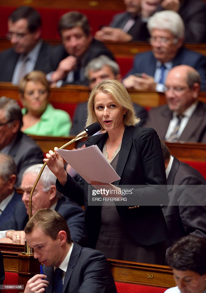 Europe Ecologie-Les Verts (EELV) ecologist party MP Barbara Pompili delivers a speech before the vote on the European fiscal treaty, on October 9, 2012 at the National Assembly in Paris.