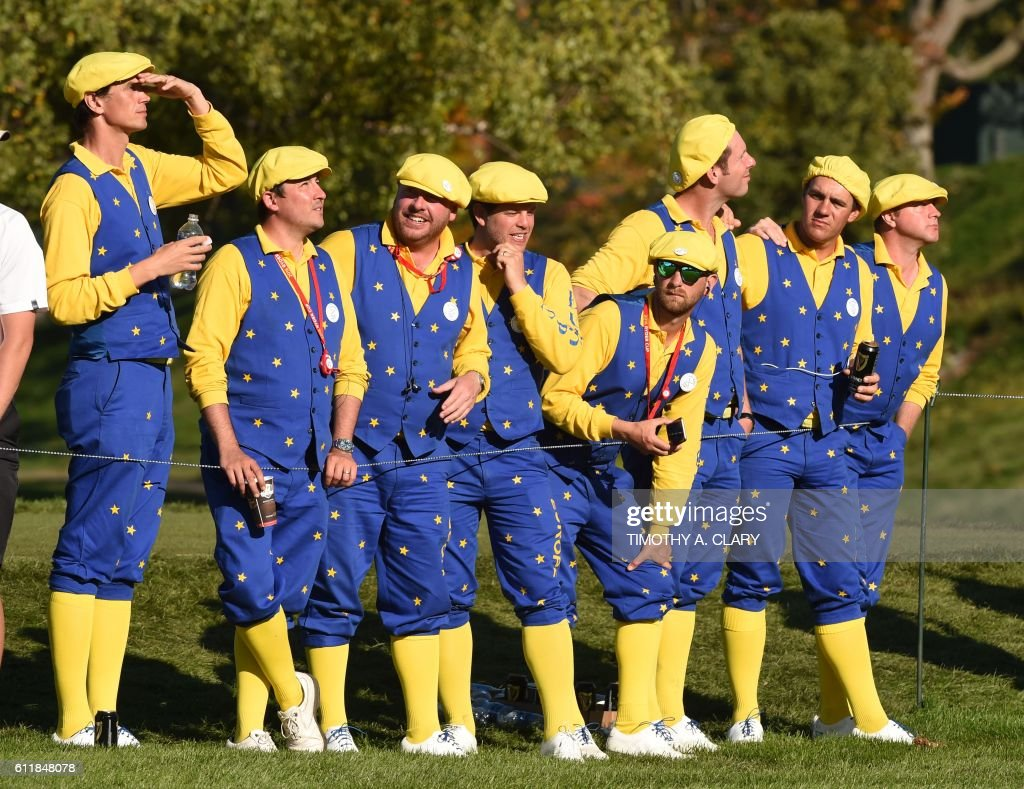 TOPSHOT - Europe Fans look on during the afternoon fourball matches at Hazeltine National Golf Course in Chaska, Minnesota on October 1, 2016, during the 2016 Ryder Cup competition between Europe and the USA. /