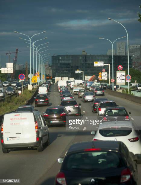 Europe, France, Paris, View Of Traffic On Boulevard Peripherique. Construction Of The Peripherique Started In 1958 On The Former Thiers Wall (City Walls Of Paris)