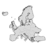 europe georaphically map european countries template graphic illustration silhouette 3d rendering isolated on white background