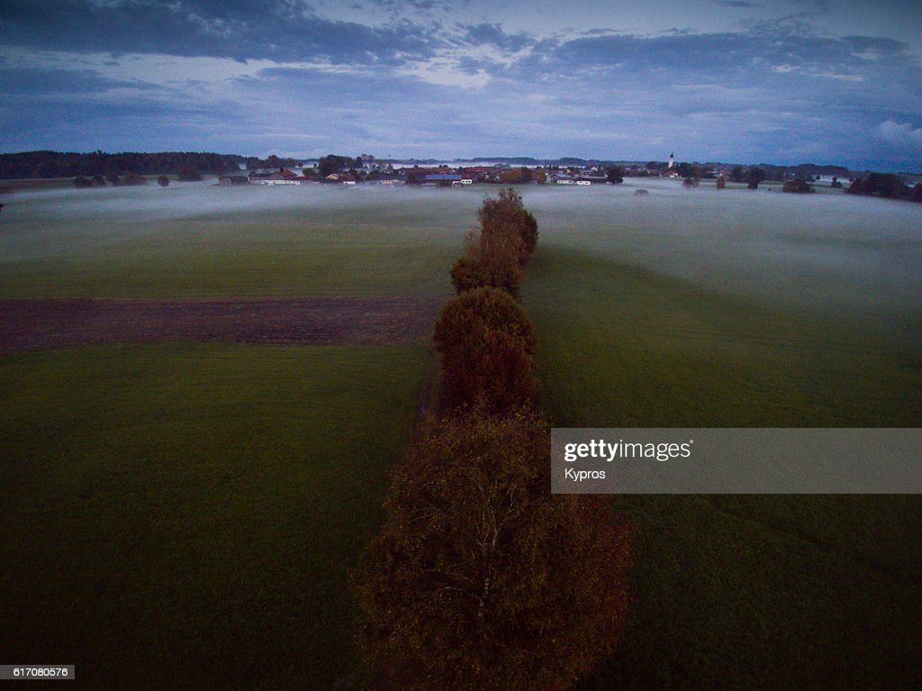 Europe, Germany, Bavaria, Aerial View Of Misty Farmland : Stock Photo