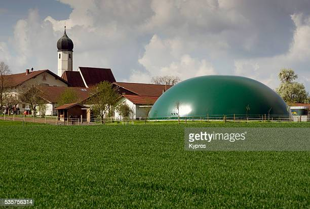 Europe, Germany, Bavaria, View Of Bavarian Church With Plastic Manure Gas Storage Dome