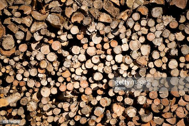 Europe, Germany, Bavaria, View Of Firewood Stacked Ready For Winter Heating