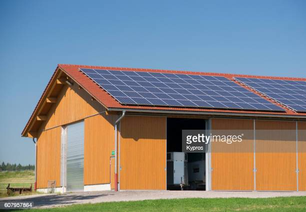 Europe, Germany, Bavaria, View Of Hay Barn With Solar panels, Solar Panel On Roof