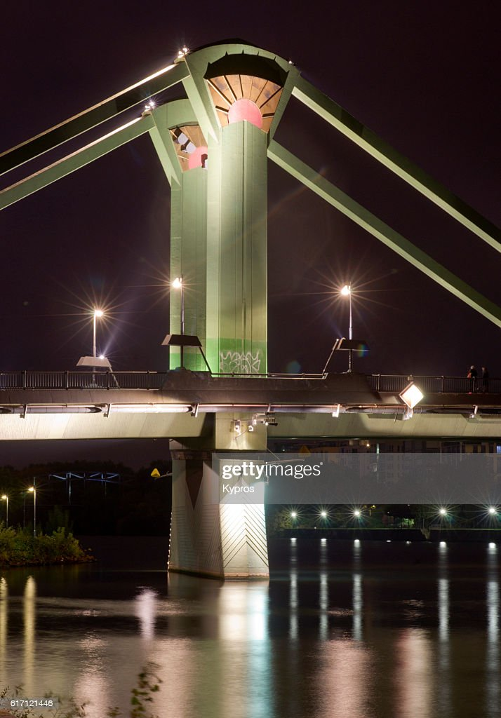 Europe, Germany, Frankfurt, View Of Floesser Bridge And Main River, A Tributary of the Rhine : Stock Photo