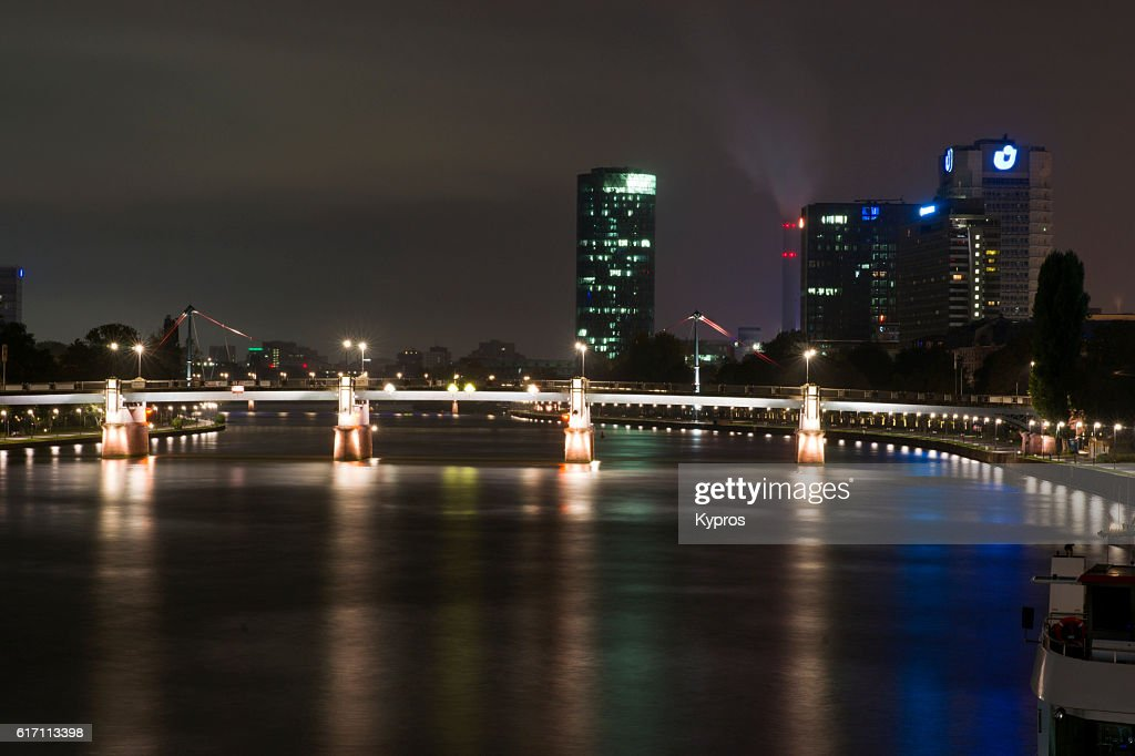 Europe, Germany, Frankfurt, View Of Modern Office Building Cityscape And The Main River, A Tributary of the Rhine : Stock Photo