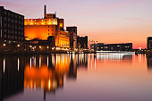 Europe, Germany, North Rhine Westphalia, View of Duisburg Inner Harbour with Werhahnmuhle