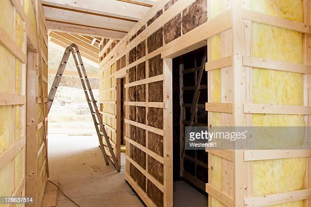 Europe, Germany, Rhineland Palatinate, Interior construction with thermal felt insulation