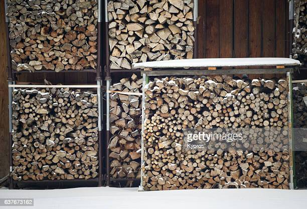 Europe, Germany, Winter View Of Snow Covered Stacked Firewood
