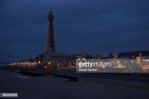 Europe, Great Britain, England, Lancashire, Blackpool, Blackpool tower and seafront illuminated at night : Stock Photo
