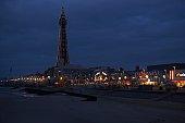 Europe, Great Britain, England, Lancashire, Blackpool, Blackpool tower and seafront illuminated at night