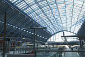 Europe, Great Britain, England, London, St Pancras Station, glass roof over platforms