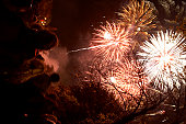 Europe, Great Britain, England, Sussex, Lewes, Bonfire Night, revellers watching fireworks