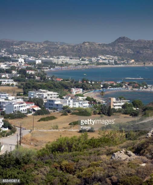 Europe, Greece, Rhodes Island, Aerial View Of Faliraki Area From Hill Near Anthony Quinn Beach