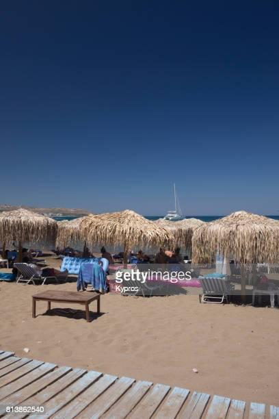 Europe, Greece, Rhodes Island, Faliraki Area, View Of Beach Chairs And Umbrellas