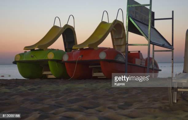 Europe, Greece, Rhodes Island, Faliraki Area, View Of Children Playground Toys On Beach