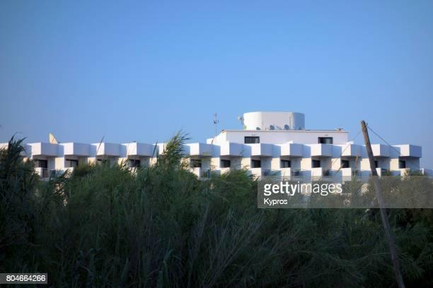 Europe, Greece, Rhodes Island, Faliraki Area, View Of Tourist Hotel At Seaside