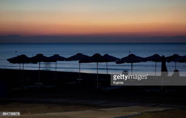 Europe, Greece, Rhodes Island, Faliraki Beach, View Of Beach At Dawn