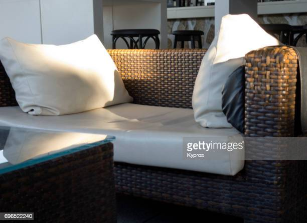 Europe, Greece, Rhodes Island, Faliraki Beach, View Of Restaurant Seats