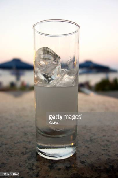 Europe, Greece, Rhodes Island, View Of Glass Of Ouzo