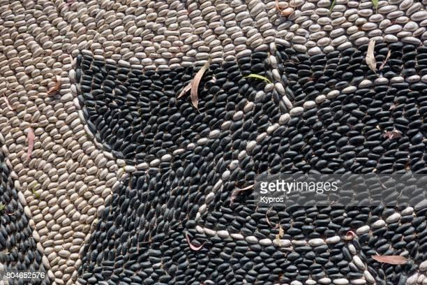 Europe, Greece, Rhodes Island, View Of Pebble Mosaic Floor On Public Pavement
