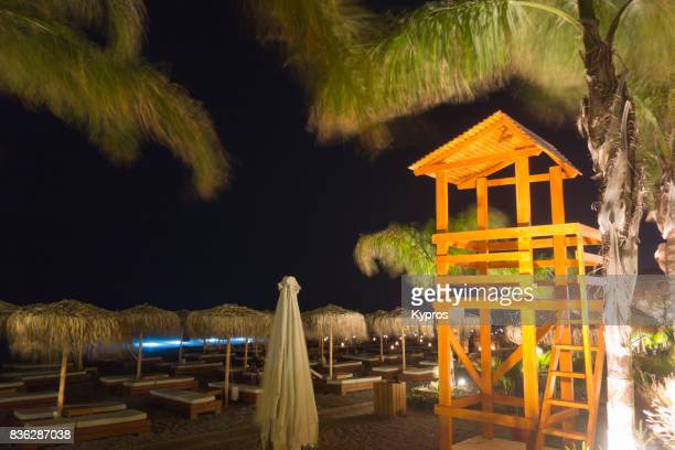 Europe, Greece, Rhodes Island, View Of Rodos Beach At Night
