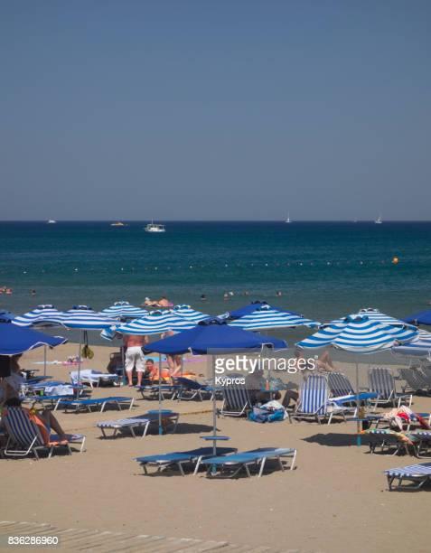 Europe, Greece, Rhodes Island, View Of Tourists On Faliraki Beach