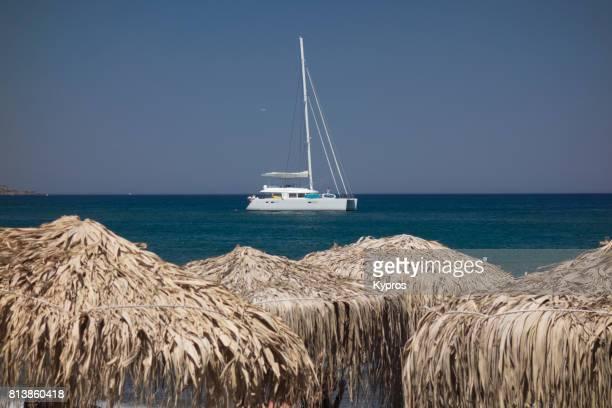 Europe, Greece, Rhodes Island, View Of Yachting At Faliraki Beach,
